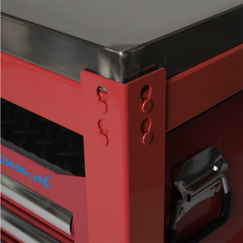 Werkbank mit Arbeitsplatte aus Edelstahl - 150 cm - Rot ...