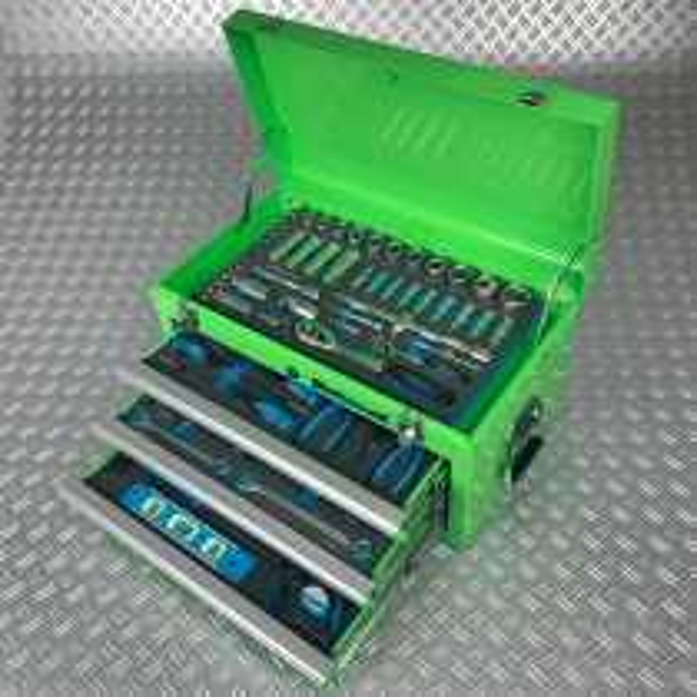 Werkzeugkiste mit drei Schubladen - 4 Fächer bestückt - grün