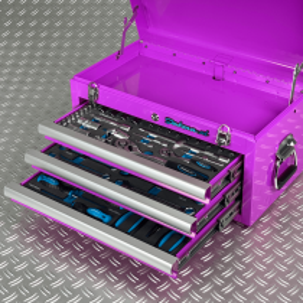 Werkzeugkiste mit drei Schubladen - 3 Fächer bestückt - lila