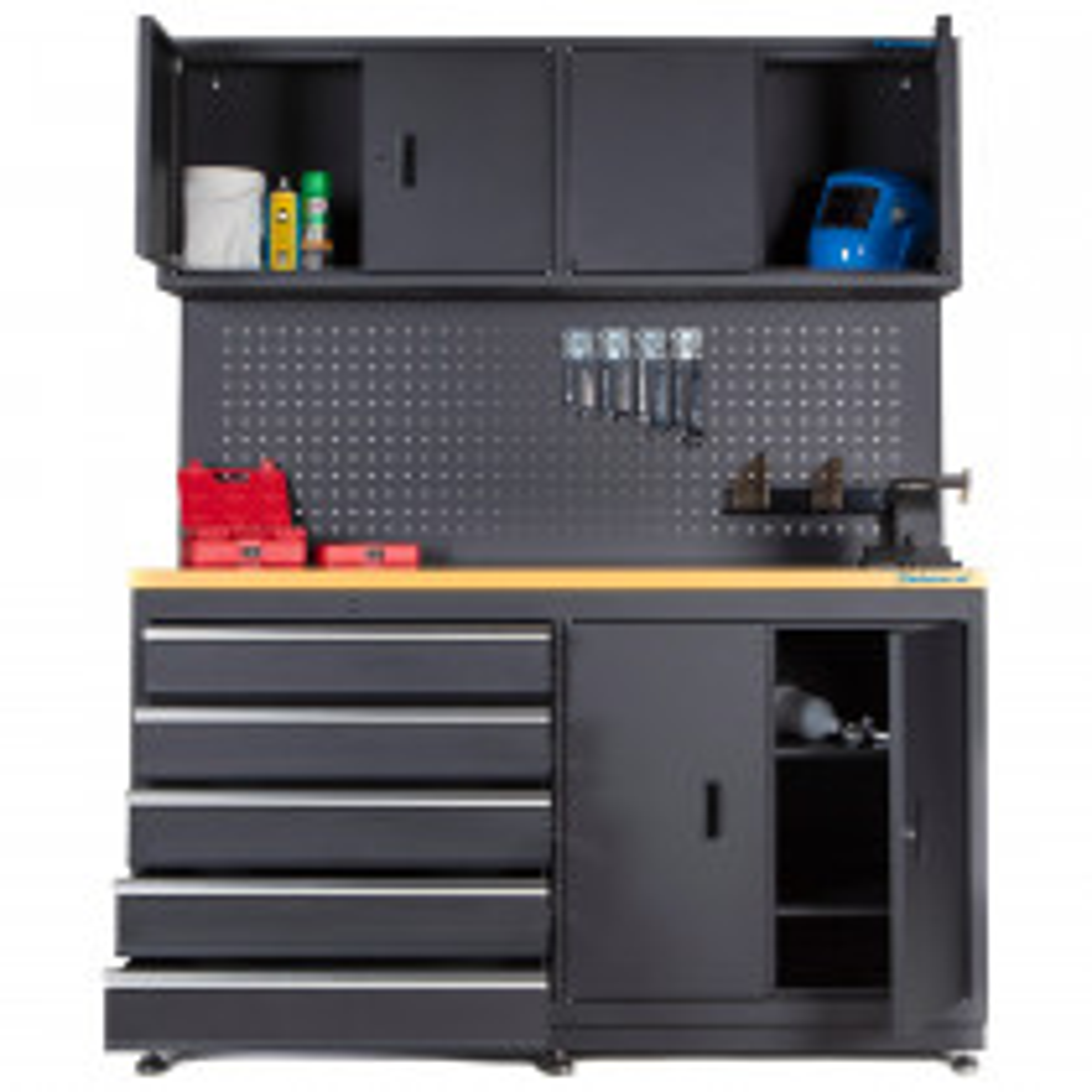 Werkstattmöbel mit Oberschränken und Lochwand - 160 cm