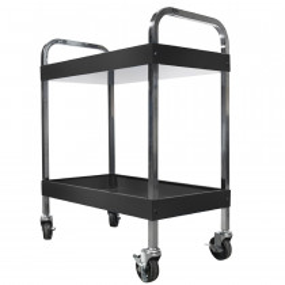 Werkstattrollwagen mit 2 Ablageflächen - Schwarz