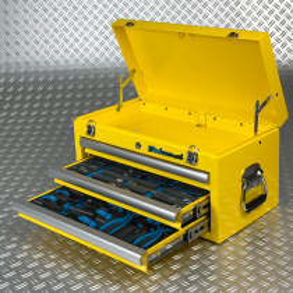 Werkzeugkiste drei Schubladen - 2 Schubladen bestückt - Gelb
