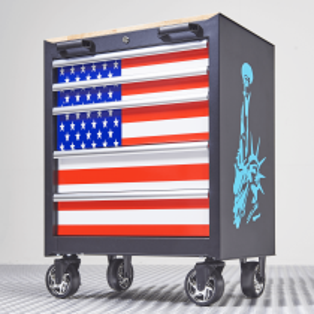 Bestückter Werkzeugwagen USA mit 5 Schubladen - 120-teilig